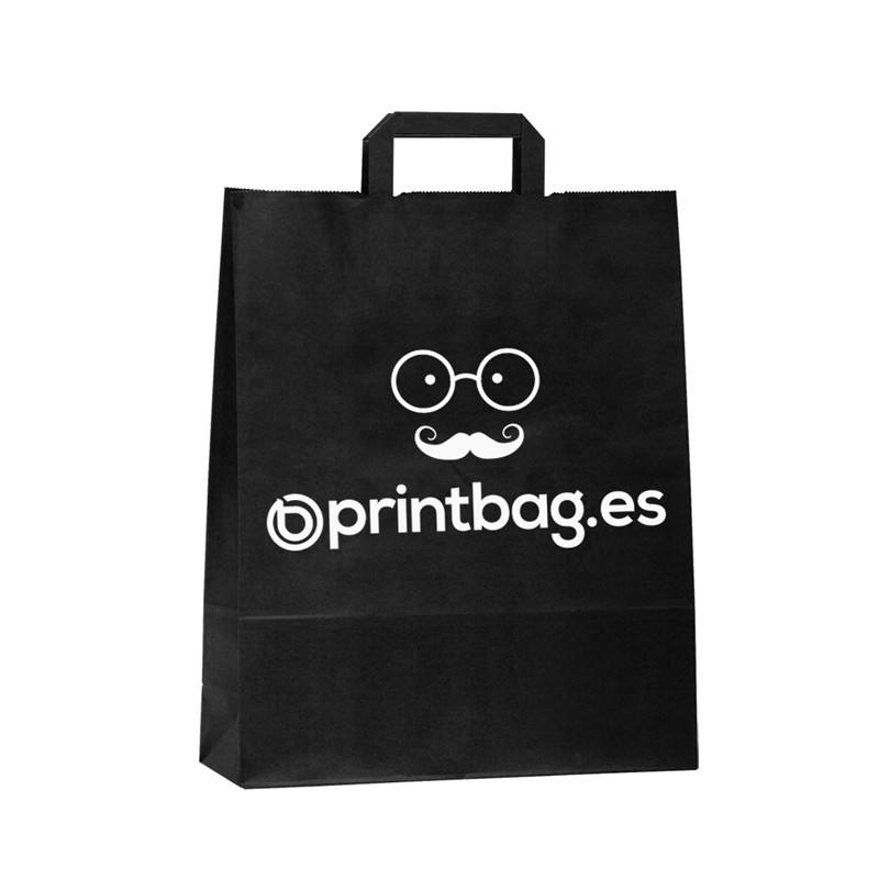 Bolsa de papel asa plana de color negra.