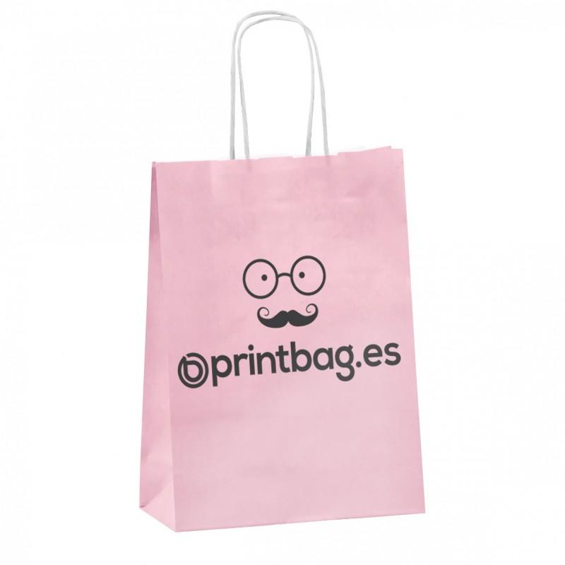 Bolsa papel asa retorcida rosa.