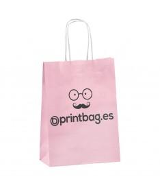 Bolsa papel asa retorcida rosada.