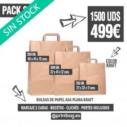 Pack bolsas asa plana kraft - Pack 2