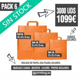 Pack bolsas asa plana color - Pack 6