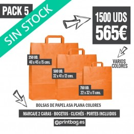 Pack bolsas asa plana color - Pack 5