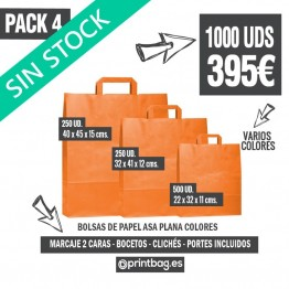 Pack bolsas asa plana color - Pack 4