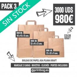 Pack bolsas asa plana kraft - Pack 3