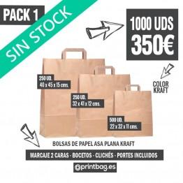Pack bolsas asa plana kraft - Pack 1