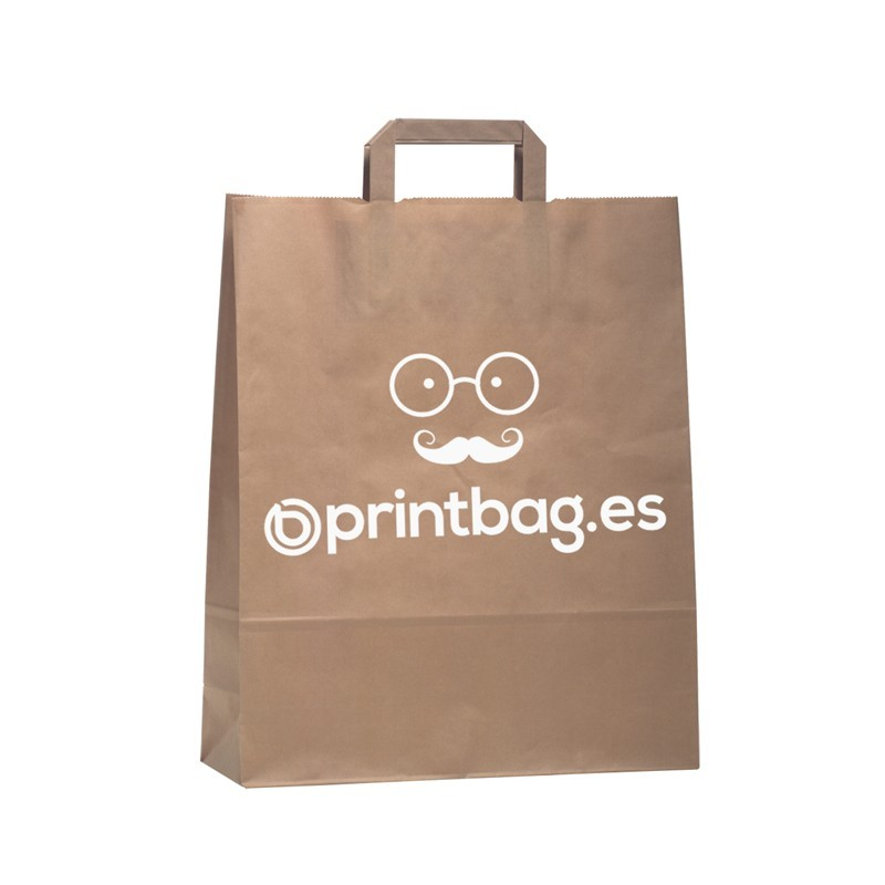 Bolsas de papel kraft asa plana color natural