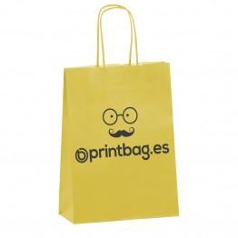 Bolsas de papel amarillas asa rizada