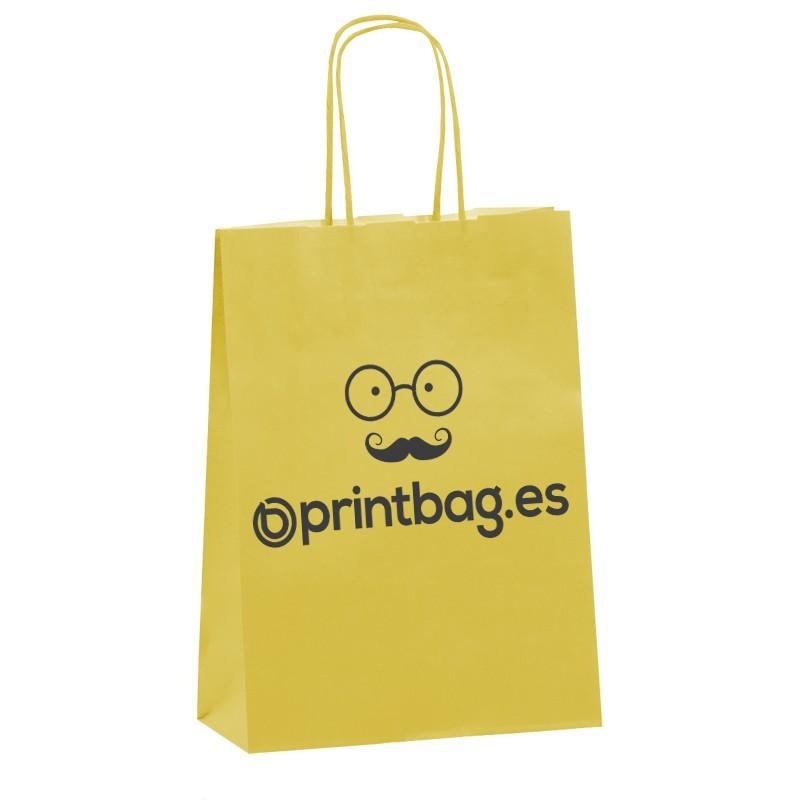Bolsas de papel asa retorcida personalizada amarillas