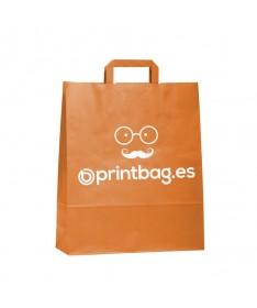 Bolsa de papel asa plana de color naranja.