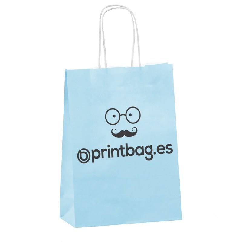 Bolsas de papel azul cielo personalizada