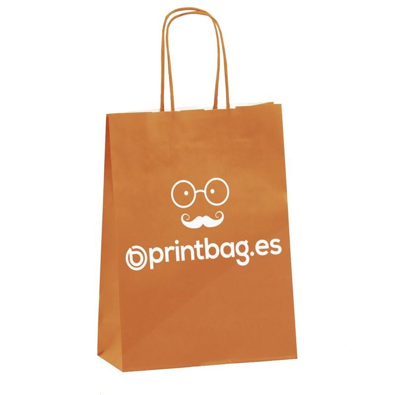 bolsa de papel  asa retorcida personalizada naranja