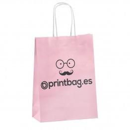 Bolsas de papel rosada asa retorcida